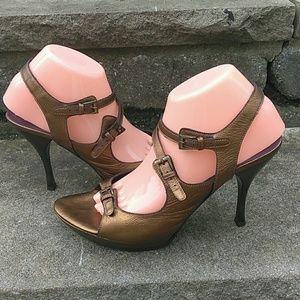 """Donald Pliner Couture Metallic 4"""" Heels Size 10"""
